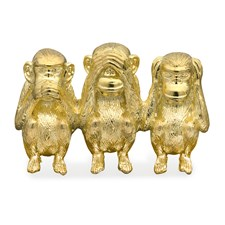 18k Yellow Gold Three Wise Monkeys Pin