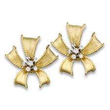 18k Gold & Diamond Small Bow Earrings