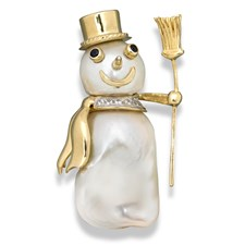 18k Yellow Gold & Baroque Pearl Snowman Pin
