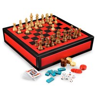 Leather Multigame Set, Red & Black