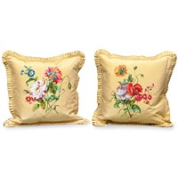 Rose and Poppy Gold Silk Pillows