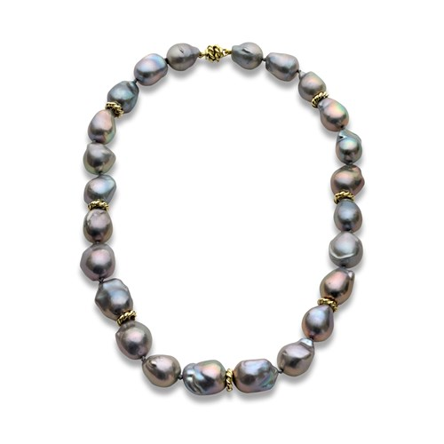 18k Yellow Gold Gray Baroque Pearl Necklace