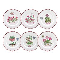 Famille Rose Purple Border Dinner Plates