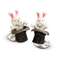 Sterling Silver Rabbit in Hat Black Spinel Cufflinks