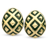18k Gold Ornament Earrings, Green