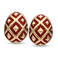 18k Gold Ornament Earrings, Red