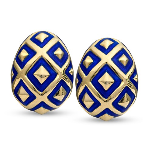 18k Gold Ornament Earrings, Blue