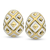 18k Gold Ornament Earrings, White