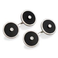 Onyx and Diamond Cufflinks and Studs