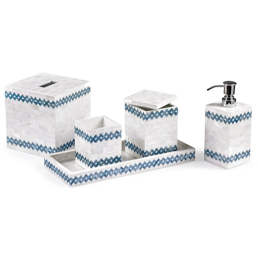 Blue weave bathroom accessories bath accessories home for Blue and silver bathroom sets