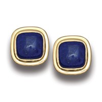 Lapis Lazuli Double Bezel Earrings