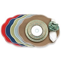 White Trim Braided Placemats, Oval