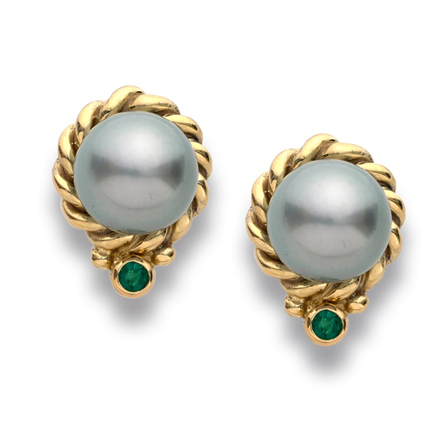 Tahitian Pearl And Emerald Earrings Hover To Zoom