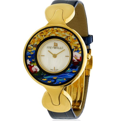Freywille Claude Monet and Gustav Klimt Helena Enamel Watches