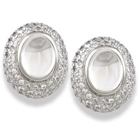 Moonstone and Diamond Oval Earrings