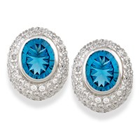 London Blue Topaz Diamond Oval Earrings