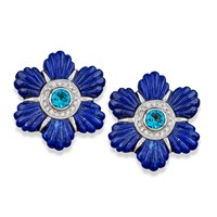 Blue Lapis Flower Petal Earrings