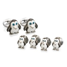 Sterling Silver Black Spinel Penguin Cufflinks and Studs