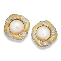 Pearl and Diamond Swirl Earrings