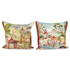 Handpainted Pagoda Red Silk Pillows