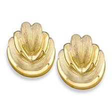 18k Yellow Gold Textured Bun Earrings