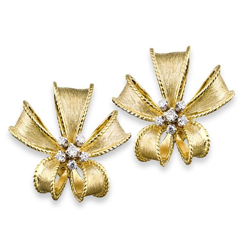18K Gold & Diamond Large Bow Earrings