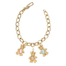 18k Gold Teddy Bear Charms & Bracelet