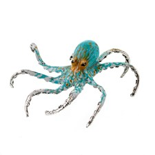 Sterling Silver and Enamel Octopus, Aquamarine