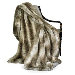 Faux Fur Wolf and Cashmere Throw