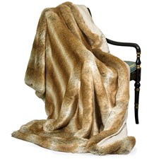 Faux Fur Coyote Australian Geelong Wool Throw