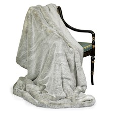 Faux Fur Gray Australian Geelong Wool Throw