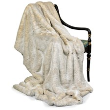 Faux Fur Beige Wool Throw
