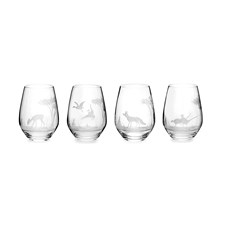 Queen Lace Crystal Stemless Wine Glasses, American Wildlife