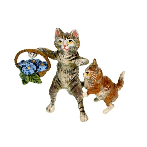 Austrian Bronze Cat with Kitten & Flower Basket Figurine