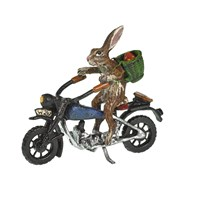 Austrian Bronze Rabbit on Motorcycle