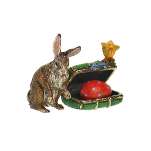 Austrian Bronze Rabbit with Suitcase