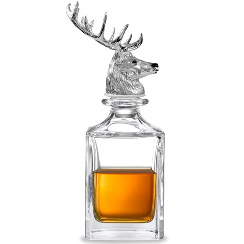 Sterling Silver Stag Crystal Decanter