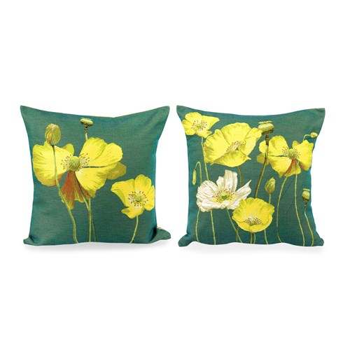 Poppies on Green Tapestry Pillows