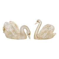 Lalique Crystal Swans, Gold Luster