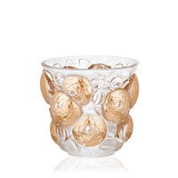 Lalique Crystal Oran Vase, Clear and Gold Stamped