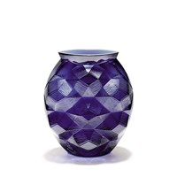 Lalique Crystal Tortue Vase, Midnight Blue