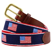 Striped American Flag Belt, Navy