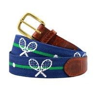 Crossed Racquets Petitpoint Belt, Navy