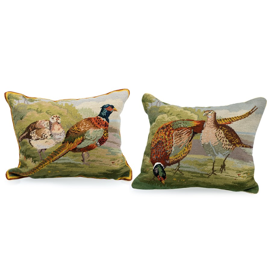 Needlepoint Pillow Decoration Crossword : Pheasant Needlepoint Pillows Pillows Home Decor Accessories Home Decor ScullyandScully.com