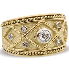 18K Yellow Gold Twist Rope Ring