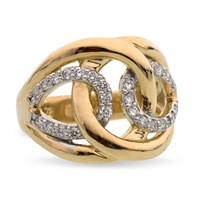 18k Gold Interlocking Diamond Ring