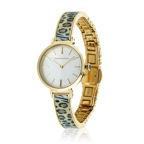 Halcyon Days Mixed Animal Print Enamel Watches