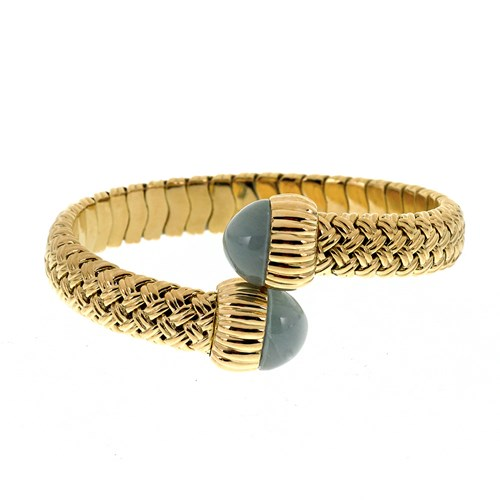 18k Yellow Gold Chalcedony Basketweave Bangle