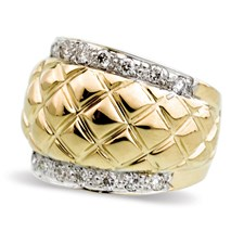 18K Gold Diamond Weave Ring