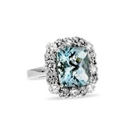 Diamond and Checkerboard Aquamarine Ring